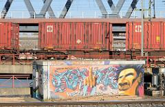 "Güterzug mit Containern am Oberhafenkanal - Graffiti ""Welcome Hamburg""."