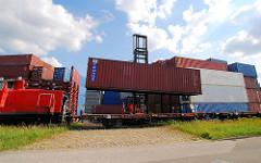 Der Fahrer des Schwerlaststablers senkt den Container auf den Güterwaggon / Flachwagen.