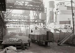 Mit Holzbohlen beladene Güterwaggons sind am Kai auf den Gleisen vor den Frachter geschoben worden - mit dem Kran werden die Bündel Holzbretter von den offenen Waggons gehoben und auf das Schiff transportiert.