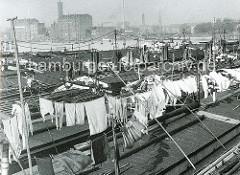 Binnenschiffe liegen in der Billwerder Bucht von Hamburg Rothenburgsort / Kaltehofe - Wäsche hängt auf der Leine zum Trocknen; lange Bootshaken / Peekhaken, die zum Staaken und Lenken der grosse Boote genutzt werden.