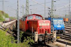 Güterlokomotiven auf dem Güterbahnhof Alte Süderelbe in Hamburg Moorburg.