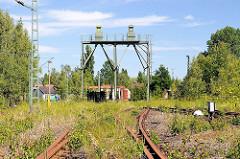 Anlage für Wasserversorgung der Dampflokomotiven - ehem. Bahnbetriebswerk Hamburg Wilhelmsburg - stillgelegt um 1980.