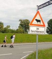 Schild Achtung Schafe im Deichbereich - Rollerskating auf der Deichstrasse am Goetjensorter Deich in Hamburg Wilhelmsburg.
