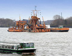 Kettenbagger Odin bei der Vertiefung der Elbe vor der Einfahrt zum Moldauhafen -  ein Barkasse der Hafenrundfahrt im Vordergrund.