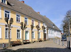 Beschnittene Kopflinden - historische ARchitektur in Bergen auf Rügen.