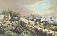 Blick auf das historische Hamburg um 1860 - rechts die Landungsbrücken und das Fährhaus, lks. Wiezels Hotel von dem man zu den auf Reede liegenden Segelschiffe blicken konnte. Links im Hintergrund die Spitze vom der St. Michaeliskirche.