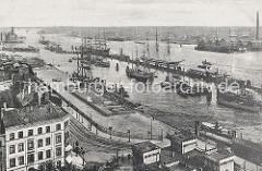 Blick vom Stintfang über die Strassen Hafentor und Johannisbollwerk zum Hamburger Niederhafen ca. 1905. Auf der Kaianlage im Vordergrund ist eine eingezäunte Areal zu erkennen, das wohl für Vieh oder Pferde bestimmt ist.
