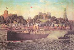 Dampfschiff und Barkasse unter Dampf auf der Elbe vor den St. Pauli Landungsbrücken ca. 1890; im Hintergrund lks. das Hamburger Seemannshaus - erbaut 1868; in der Mitte das Gebäude der Seewarte auf dem Stintfang + re. der Turm der St. Michaeliski