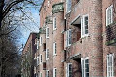Wohnhäuser am Elisabethgehölz -  Das historische Backstein-Ensemble ELISA in Hamburg Hamm war Ausdruck der Hamburger Architektur der 1920er Jahre in der Ära des Oberbaudirektors Fritz Schumacher.