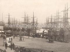 Masten der Groß - Segler im Hamburger Niederhafen; dicht an dicht liegen die Frachtsegler auf Reede. Eine eiserne Wassertreppe führt zum Anlegeponton der Landungsbrücken - Transportarbeiter mit Karren warten auf Ladung.