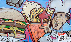 Graffiti - Koch und Pommes Frites rot / weiss.