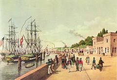 Das Hamburger Hafentor und Segelschiffe im Hamburger Hafen. In der Hamburger Befestigungsanlage, die nach niederländischem Vorbild errichtet wurde, gab es in der Wallanlage 21 Bastionen, von denen aus anrückende Feinde bekämpft werden konnten.