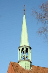 Kirchturm / Kupferturm der  Broder Hinrick Kirche der Fritz Schumacher Siedlung in Hamburg Langenhorn / Tangstedter Landstrasse.