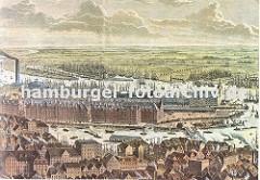 Darstellung der Hamburger Speicherstadt aus der Luft - hinter den Dächern der Hamburger Häuser liegt der Binnenhafen und Zollkanal, rechts die Niederbaumbrücke. Dahinter die Lagergebäude des Hamburger Freihafens.