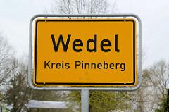 Ortsschild Wedel, Kreis Pinneberg.