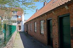 Historische Wohnhäuser am Heringsgang in Wedel.