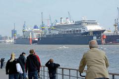 Blick von der Altonaer Elbpromenade über die Elbe zu den eingedockten Kreuzfahrtschiffen - Fotos aus dem Hamburger Hafen.