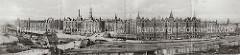 Panorama der historischen Hamburger Speicherstadt - Blick über den Brooktorhafen zu den Speichergebäuden am Sandtor (lks.) und Brooktor (re.). Im Bildzentrum der St. Annenplatz, rechts davon das Verwaltungsgebäude (Speicherstadt-Rathaus).