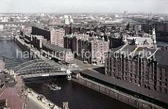 Blick über den Zollkanal zur Speicherstadt mit seinen kupfergedeckten Giebeltürmen. An der Kornhausbrücke ist eine Zollstation, da hier das Gelände des Hamburger Freihafens betreten wurde.