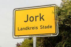 Ortsschild Jork - Landkreis Stade.