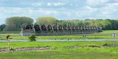 Blick über die Elbe bei Dömitz - am anderen Elbufer die Reste der Elbbrücke / Eisenbahnbrücke - errichtet 1873, zerstört durch Luftangriff 1945.