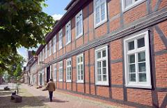 Fachwerkhäuser am Rathausplatz / Elbstrasse von Dömitz; Fachwerkarchitektur.