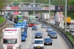 Verkehr auf der Autobahn A 7 in Hamburg Stellingen - LKW, PKW. 5378 Verkehr auf der Autobahn A 7 in Hamburg Stellingen - LKW, PKW.