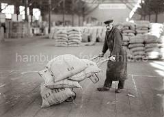 Der Lagerarbeiter hat seine Sackkarre mit vier prall gefüllten Jutesäcke beladen und transportiert seine Ladung im Kaischuppen des Hamburger Hafens. Im Hintergrund ist weiteres Sackgut gelagert. ( ca. 1930 )