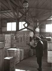 Eine Transportkiste hängt am Kistengreifer des Schuppenkrans; ein Lagerarbeiter dirigiert die Holzkiste an ihren Lagerplatz im Hafenschuppen; ca. 1934.