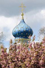 Russisch Orthodoxe Prokopkirche in Hamburg Stellingen - Blaue Kuppel mit goldenen Sternen, goldenes russisch-orthodoxen Kreuz - Zwiebelturm, blühende rosafarbene Japanische Zierkirschen.