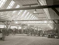 Eine hohe Fensterreihe im Dach des Schuppen 35 im Segelschiffhafen lässt viel Licht in das Lagergebäude; Arbeiter kontrollieren die Bananenstauden auf einem Förderband - die Bananen werden in die bereit stehenden Güterwaggons verladen; ca. 1934.