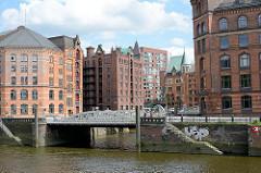 Blick über den Zollkanal, der ehem. Zollgrenze des Hamburger Freihafens zum Kleinen Fleet und Speichergebäude der Speicherstadt.