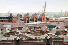 Dächer und Windengiebel in der Hamburger Speicherstadt - im Hintergrund ein Hafenkran am Hansahafen.