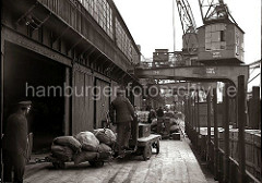 Ein Lagerarbeiter bringt eine Ladung Säcke mit seinem Elektrokarren, der zwei Anhänger hat auf die Laderampe. Im Hintergrund liegen Säcke auf einer Waage. Ein Güterzug steht unter den Halbportalkränen auf der Gleisanlage.