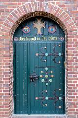 Eingangstür Borsteler St. Nikolaikirche / Jork, Altes Land.