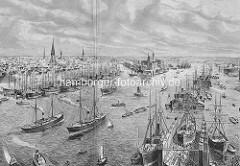 Historischer Stich vom Hamburger Hafen und der Norderelbe. Im Vordergrund liegt ein Schiff im Schwimmdock - in der Bildmitte der Kaiserspeicher / Kaispeicher A; lks. der Sandtorhafen, re. die Einfahrt zum Grasbrookhafen.
