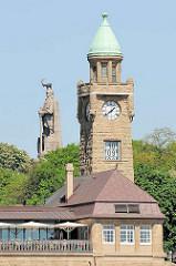 Uhrenturm / Pegelturm der St. Pauli Landungsbrücken - im Hintergrund das Hamburger Bismarckdenkmal; zum Hamburger Architektursommer 2015 hat das Wiener Künstlerkollektiv Steinbrener/Dempf & Huber eine Steinbockskulpur auf Bismarcks Kopf gesetzt.