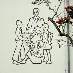 Wandbild beim Eingang des Gymnasiales Schulzentrum Fritz Reuter Dömitz; Gymnasium und Regionale Schule.