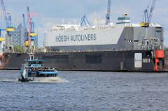 Ein Schiff der HÖEGH AUTOLINERS liegt im Schwimmdock der Hamburger Werft Blohm & Voss.