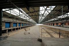 Ehemaliger Güterbahnhof Oberhafen im Hamburger Stadtteil Hafencity - der Bahnhof ist stillgelegt, die Bahngleise sind entfernt.