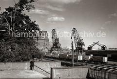 Blick über die Große Elbstraße zu den Kaianlagen des Hafens von Altona. Auf den Gleisen stehen Güterzüge, die in ihren Kühlwagen den frisch gefangenen Fisch transportieren. Am Elbkai stehen Kräne mit unterschiedlicher Tragfähigkeit.  (ca. 1938)