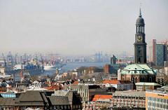 Blick über die Dächer der Hamburger Neustadt zur Michaeliskirche und der Elbe.