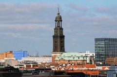 Dächer der Hansestadt Hamburg - Kirchenschiff mit Kupfer gedeckt, Kirchturm des Michels.