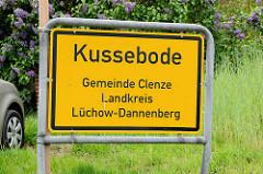 Ortsschild Kussebode, GEmeinde Clenze, Landkreis Lüchow-Dannenberg.