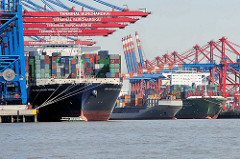 Containerfrachter CMA CGM JULES VERNE im Hamburger Hafen unter den Containerbrücken vom Container Terminal Burchardkai - dahinter legt ein Feederschiff an.