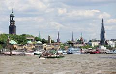 Panorama der Hansestadt Hamburg - Blick über die Elbe zur den Türmen der Stadt: ganz links der Kirchturm der St. Michaeliskirche, dann die Spitze vom Rathausturm; daneben der Pegelturm der St. Pauli Landungsbrücken und der Kirchturm der Petrikirche.