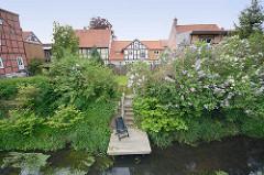Blick über die Drawehner Jeetzel in Lüchow - Garten mit blühendem Flieder am Wasser; Fachwerkhäuser.