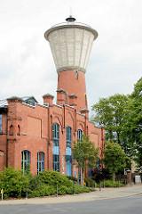 Historische Industriearchitektur - Backstein / Ziegelgebäude; Wasserturm und Wasserwerk, Elektrizitätswerk in Lüchow.