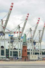 Radaranlage am Ellerholzhöft - Blick vom Kronprinzenkai im Hamburger Kaiser Wilhelm Hafen zu den Containerbrücken am Terminal Tollerort.