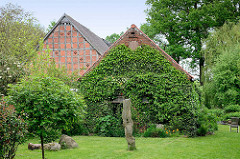 Mit Efeu bewachsener Schuppen - Häuser in Luckau / Wendland.
